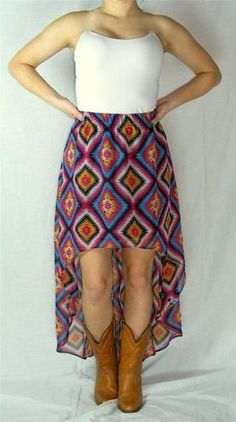 "New Volcom Maxi Skirt Size XL XLarge Hi Lo ""Get Low"" Aztec Multi Color 