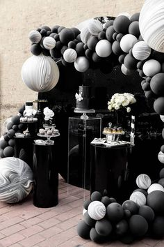 Monochrome Popping Bottle Baby Shower on Karas Party Ideas KarasPartyIdea . 30th Party, Adult Birthday Party, 30th Birthday Parties, Birthday Woman, Birthday Party Themes, Happy Birthday, Party Party, 50th Birthday, Festa All Black