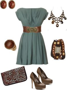 "Stitch fix stylist, love the dress the most! ""brown and teal"" by kaybraden on Polyvore"