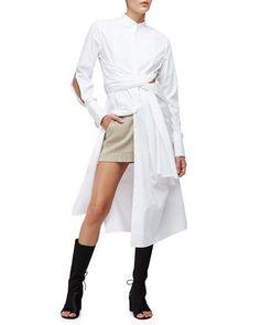 3.1 Phillip Lim Long-Sleeve Cotton Twist-Front Shirtdress, White