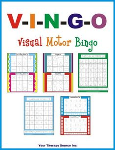 VISUAL MOTOR BINGO PRINTABLE. Game boards for pre-writing skills, shape formation, letter formation (capital and lowercase) and number formation (AD)