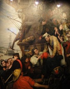 1858   Home Again  by Henry Nelson O'Neil.  This is the companion painting to Eastward Ho! It's a year later and the soldiers have returned, many injured and being helped off the ship. Thousands of people queued in London to see these paintings when they were released. Via  Museum of London   © Suzi Love