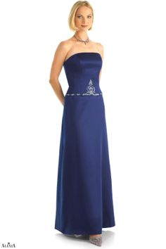 Strapless matte satin A-line bridesmaids gown. This magnificant gown appears to be two pieces due to the intricate crown beading located at the waist.