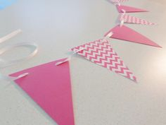 Pink Chevron Pennant Banner...perfect shower or party decoration, photo prop, etc.!