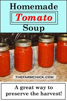 Learn to make the best homemade tomato soup ever to add to your winter chili or sloppy joes or whatever else you want! Preserve the summer harvest and never go back to store bought soup again! Canning Tomato Soup, Tomato Basil Soup, Canning Tomatoes, Tomato Garden, Tomato Tomato, Canning Vegetables, Tomato Plants, Veggies, Tomato Soup Ingredients