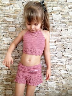 Crochet toddler set shorts and top Rose crochet lace shorts crop top Beach clothing kids Crochet toddler outfit Hippie boho toddler clothing - Rose Crochet Gilet Crochet, Crochet Shorts, Crochet Crop Top, Crochet Clothes, Crochet Lace, Lace Shorts, Free Crochet, Crochet Toddler, Crochet Girls