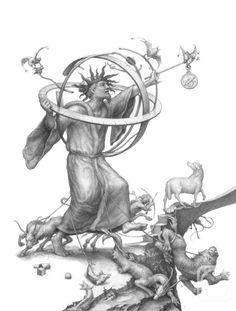 """Заблуждающийся философ. Иллюстрация к """"Похвале Глупости"""" Эразма Роттердамского. 2011"""