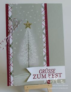 Christmas card with the stamp set forest of words #CarosBastelbude