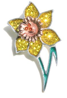 Marie Curie crystal daffodil brooch By KLESHNA LONDON  #DaffodilAppeal  £39.99 Swarovski Gifts, Marie Curie, Jewellery Box, Jewelry, Daffodils, Projects To Try, Bling, Brooch, London