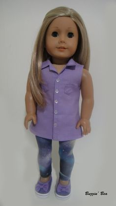Lavender Sleeveless Button Up Tunic and Galaxy Leggings - American Girl Doll Clothes