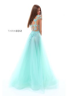 0936d3c1ebf Tarik Ediz- Prom 2018 Collection Style  50261 Mint Long Tulle Prom Gown  with Embroidery