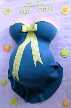 Pregnant Belly Baby Shower Cake in Blue and Lime Green with Yellow and Orange Polka Dots