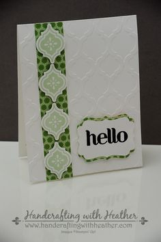 "Mosaic Madness... ""Hello"" from Stampin' Up!  Heather Van Looy, Independent Stampin' Up! Demonstrator in Johns Creek, GA.  Follow my blog for more great project ideas (www.handcraftingwithheather.com)."