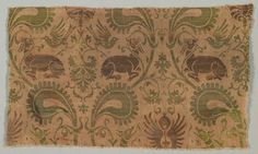 Silk with Dogs and Birds and Vines, Italy, second half of 14th century, silk, gold thread; a combination of two weaves, 2/1 twill and plain weave (lampas), Overall: 20.70 x 34.70 cm, Cleveland Museum of Art