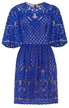 'Jillyan' Floral Lace Dress-Blue-BCBG