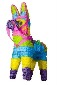 Piñata filled with candy, quarters, laundry detergent pods, travel-sized toothpaste, Kleenex packs