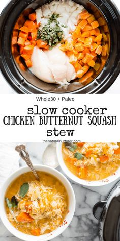 Paleo meals 392516923775533634 - Loaded with protein and amazing veggies, Slow Cooker Chicken & Butternut Squash Stew is easy to throw together, hearty, full of flavor and is the perfect meal to make on a busy day. Source by toastedpinenut Paleo Recipes, Real Food Recipes, Chicken Recipes, Cooking Recipes, Paleo Meals, Meatless Recipes, Paleo Food, Veggie Food, Paleo Diet