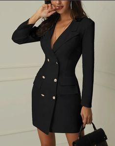 6dfe65a12c4 Simplee элегантный двубортный Женщины черное платье женские офисные белый  блейзер платья Большие размеры летние облегающее женское платье костюм