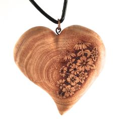 wooden heart necklace, wood heart pendant, pyrography pendant, wood burned necklace, heart necklace, wood jewelry, wood heart jewellery