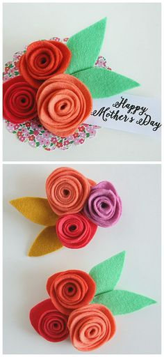 Mother's Day Crafts: Unique and Thoughtful Handmade Gifts For Your Dearest Mom - For Creative Juice Easy Felt Crafts, Diy Mother's Day Crafts, Mother's Day Diy, Felt Diy, Diy Inspiration, Mothers Day Crafts For Kids, Flower Corsage, Diy Art Projects, Felt Flowers