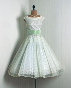 1950's Vintage Polka-Dot Embroidered Mint-Green and Ivory-White Chiffon