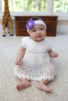 Adorable crochet dress, diaper cover, and headband!