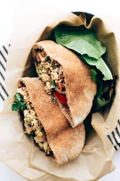 Vegan Mediterranean Un-Tuna Salad   Flaked chickpeas + artichokes are tossed with olives, sun-dried tomatoes, peppers, capers, parsley, lemon juice + mayo!