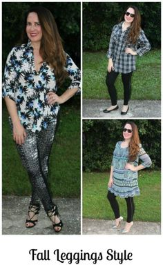 #ad How to wear leggings for fall...With a button down shirt, a tunic or even a dress!