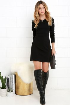 Perfectly Posh Black Long Sleeve Dress at Lulus.com!