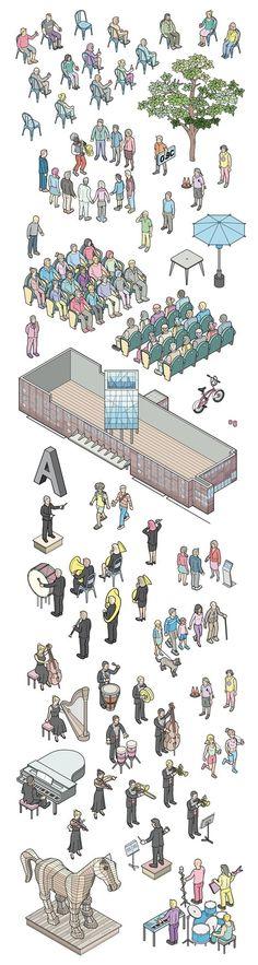 L'Auditori 2014 on Behance #isometric #illustration #character: