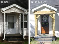 Home Renovation Porch Lindsay, of The White Buffalo Styling Co., tackled a precious cottage front entrance makeover! Click through for all the details and more before and after shots! Home Renovation, Home Remodeling, Home Exterior Makeover, Exterior Remodel, Front Porch Makeover, Home Design, Design Ideas, Bungalow, Cottage Exterior