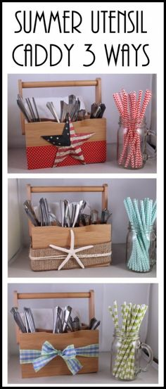 Summer Utensil Caddy 3 Ways - * THE COUNTRY CHIC COTTAGE (DIY, Home Decor, Crafts, Farmhouse)