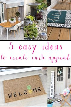 Adding curb appeal to your home doesn't have to cost a ton or take forever! Check out these 5 easy curb appeal ideas you can do in an afternoon! Stair Stickers, Wall Stickers Murals, Outdoor Projects, Outdoor Decor, Outdoor Living, Indoor Palm Trees, Beach Canvas Wall Art, Unique House Design, Mural Wall Art