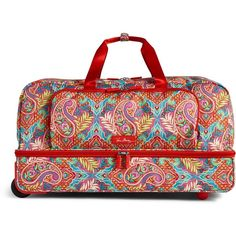 Vera Bradley Lighten Up Large Wheeled Duffel Bag in Paisley in... ($228) ❤ liked on Polyvore featuring bags, luggage and paisley in paradise