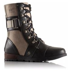 Major Carly Leather Boot ($150) ❤ liked on Polyvore featuring shoes, boots, sorel boots, military-style boots, leather boots, leather shoes and genuine leather boots