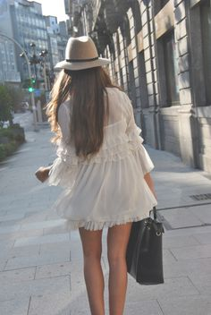 Nice fluffy white dress with hat