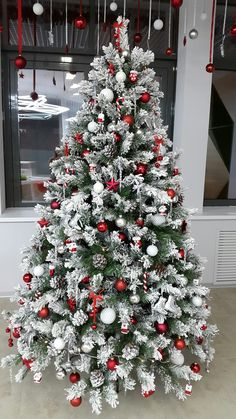 Red and White Christmas Decorations that Looks Classy & Elegant - Ethinify, . Red and White Christmas Decorations that Looks Classy & Elegant - Ethinify, . Flocked Christmas Trees Decorated, Cheap Christmas Trees, Frosted Christmas Tree, Christmas Tree With Snow, Christmas Tree Design, Beautiful Christmas Trees, Christmas Tree Themes, Christmas Home, Christmas Holidays