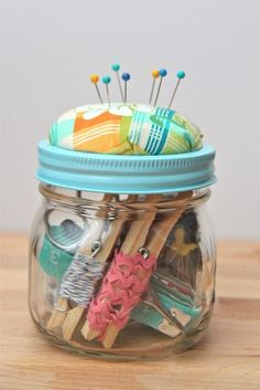 DIY Beginner Sewing Kits.. i love the idea to wrap ribbon around clothes pins!