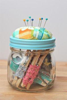 DIY Beginner Sewing Kits.. i love the idea to wrap ribbon around clothes pins!