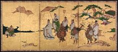 Meeting between Emperor Wen and Fisherman Lü Shang - Artist: Attributed to Kano Takanobu (Japanese, 1571–1618) Period: Momoyama period (1573–1615) Date: ca. 1600 Culture: Japan Medium: Pair of six-panel folding screens; ink, color, and gold on gilded paper