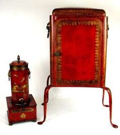 Circa-1820 Regency red and gilt tole painted hot water urn