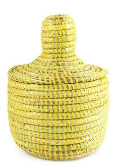 African Lidded Mini Storage Basket in Yellow