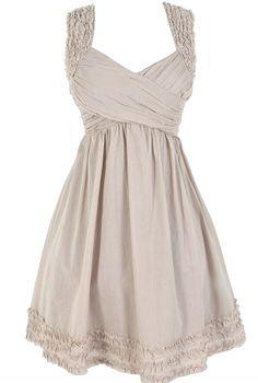 McKenzie Pleated Cotton Dress in Taupe- soooo cute