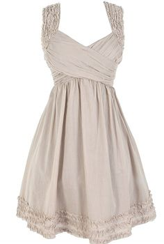 McKenzie Pleated Cotton Dress in Taupe