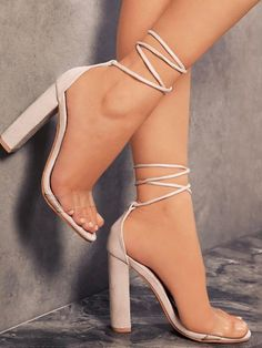 simple and chic Women Lady Open Toe Block High Heel Sandals Party Pumps Shoes Heels Plus Size 42 Ankle Strap High Heels, Hot High Heels, Lace Up Heels, High Heels Stilettos, Womens High Heels, Stiletto Heels, Ankle Straps, Nude Strappy High Heels, Tie Heels
