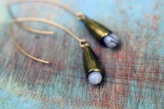 CIJ Gemstone Tear Drop Earrings - Gold Brass Bullet Dangles - Rustic Gray Grey Cone Drops - Botswana Agate Briolette - Gift Box