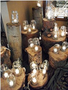 Mason Jar Wedding Lighting-or to create a tall centerpiece, use tree stumps. I'd like to have something like this as the backdrop behind us during the ceremony