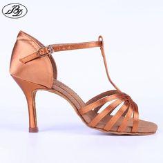 3bf8b5658 Women Latin Dance Shoes BD 217 Dark Tan Satin Napper Leather Sole Slim High  Heel Ladies Ballroom Dance Sandal Dancesport Shoe