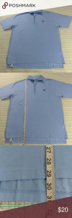 Peter Millar M Solid Blue 100% Cotton Polo Peter Millar Men's Sz M Solid Blue 100% Cotton Short Sleeve Golf Polo Shirt Peter Millar Shirts Polos