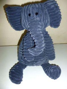"Jellycat Cordy Roy Elephant 16"" Plush Blue Stuffed Animal Corduroy Toy Soft #Jellycat"